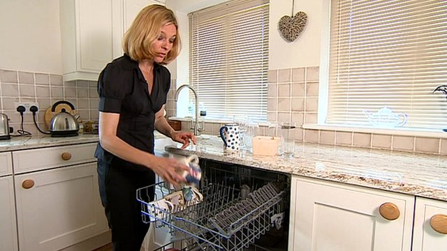 Julie Reinger with dishwasher