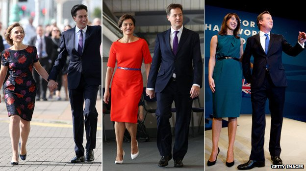 Composite of leaders and their wives, L-R, Justine Miliband, Miriam González Durántez , Samantha Cameron