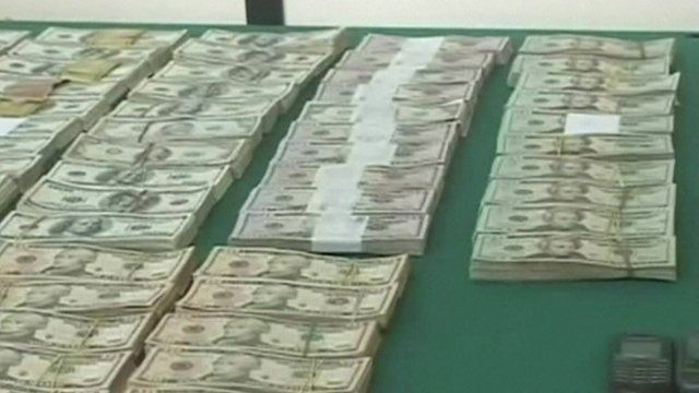 Money displayed by Bolivian authorities