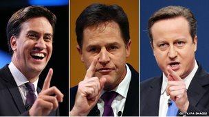 Leaders composite, L-R: Miliband, Clegg, Cameron