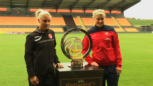 Steph Houghton and Megan Harries pose next to Continental Cup trophy