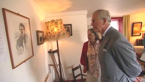 Prince Charles at 5 Cwmdonkin Drive in Swansea, home to the Welsh poet Dylan Thomas