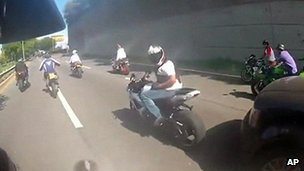 Photo of a motorcyclist thought to be Mr Cruz, taken from a video of the incident