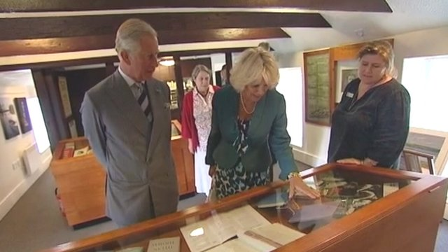Prince Charles and the Duchess of Cornwall visiting Dylan Thomas's boathouse at Laugharne, Carmarthenshire