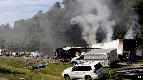 Scene of crash in Tennessee. 2 Oct 2013