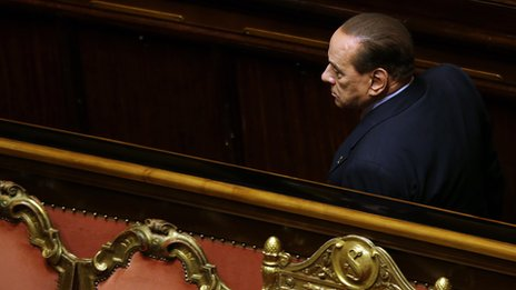 Silvio Berlusconi attends a vote of confidence in the government