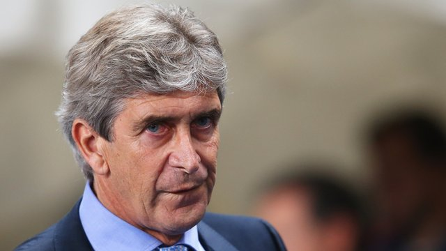 Manuel Pellegrini looks on after Bayern Munich defeat