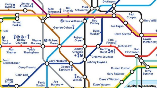 Footballers Take Over London Underground Map