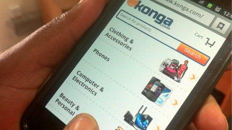 Browsing e-retailer Konga on a mobile phone