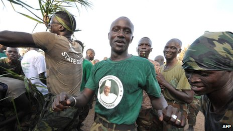 Soldiers celebrate Yahya Jammeh victory in elections (November 2011)