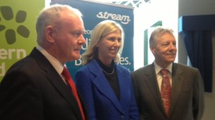 Martin McGuinness, Kathy Marinello and Peter Robinson