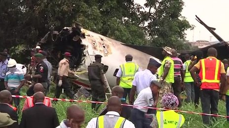 Still of footage from the scene of the crash in Lagos