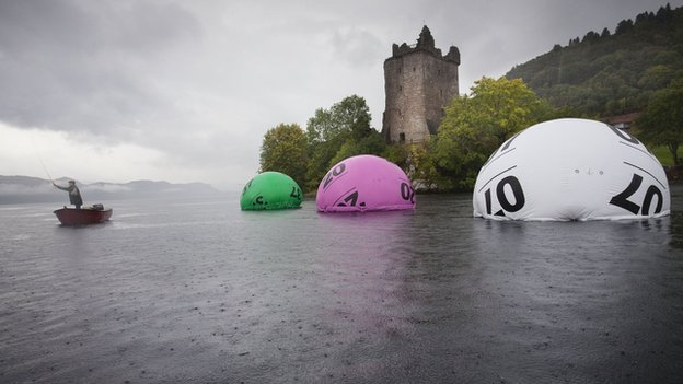 Lotto balls on Loch Ness
