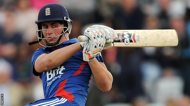 England's Alex Hales on the attack against West Indies