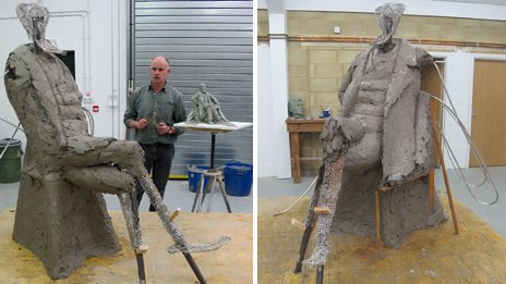 The Charles Dickens statue in progress