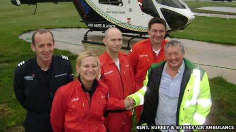 Air ambulance Pilot Mark Howard-Smith, nurse Emily McWhirter, paramedic Charles Leahy, Dr John O' Neill and David Johnstone