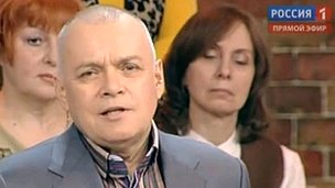 Screengrab of Dmitry Kiselev during a broadcast