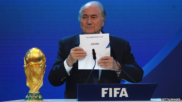 Fifa president Sepp Blatter announces that Qatar will host the 2022 World Cup