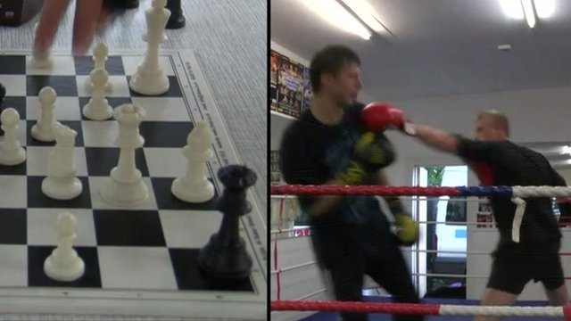 Chess boxing composite image