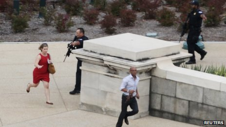 People were seen fleeing from the sounds of gunfire near the US Capitol