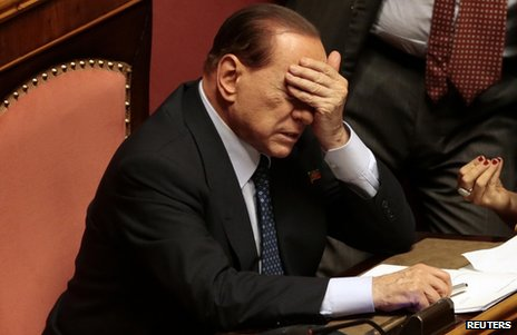 Silvio Berlusconi in parliament in Rome, 2 October