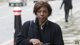 Barrister and part-time judge Constance Briscoe arrives at the Old Bailey