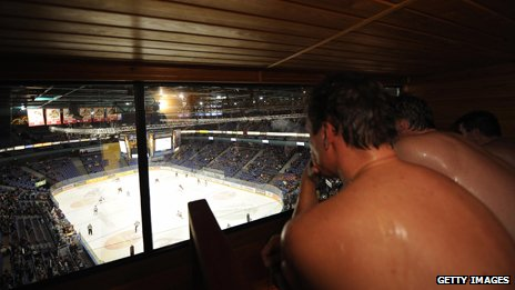 Watching ice hockey from a sauna box in Hartwall Arena