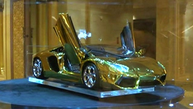Gold plated sports car