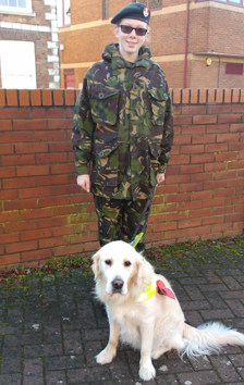 Hannah in army cadet uniform, Rory in a red poppy