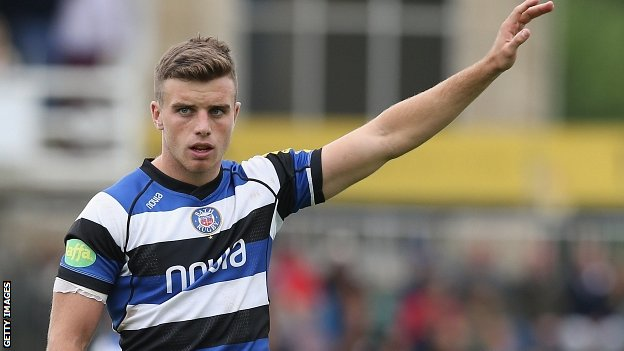 Bath fly-half George Ford raises his hand