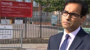 Rehman Chishti MP outside school