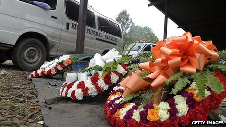 Wreaths outside Nairobi's mortuary on 25 September