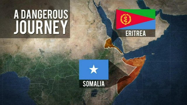 A map showing Somalia and Eritrea