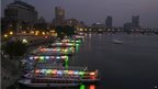 Parked boats on the River Nile pictured at night in Cairo, Egypt - Saturday 28 September 2013