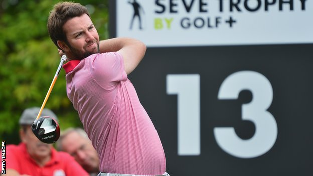 Scott Jamieson tees off during the Seve Trophy