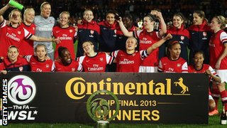 Arsenal celebrate winning Continental Cup