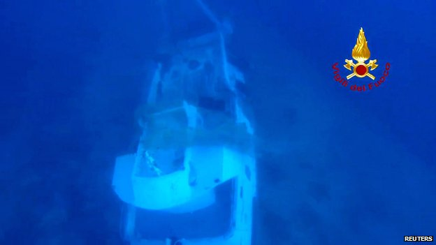 Wreckage of migrant boat on the sea bed in video released by the Italian authorities on 4 October 2013