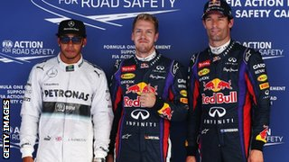 Lewis Hamilton, Sebastian Vettel and Mark Webber