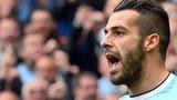 Manchester City's Alvaro Negredo celebrates his equaliser against Everton