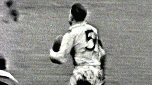 Great Britain's Mick Sullivan scores against Australia at Odsal