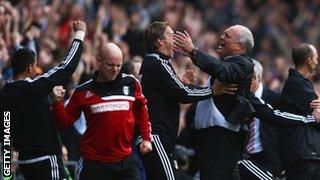 Martin Jol celebrates Fulham's goal