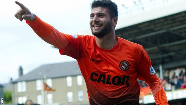 Nadir Ciftci celebrates his winner for Dundee United