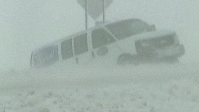 Van stuck in snow
