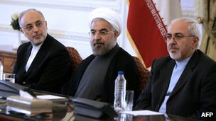 Ali Akbar Salehi (l); Hassan Rouhani centre; and Foreign Minister Javad Zarif