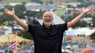 Michael Eavis on the Glastonbury site