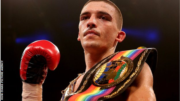 Lee Selby with his belts after defence of his British and Commonwealth titles.