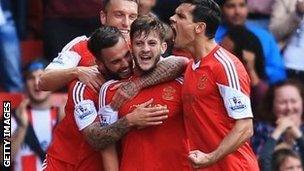 Southampton celebrate scoring against Swansea