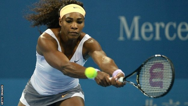 Serena Williams plays a shot in the China Open final