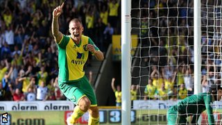 Norwich City's Anthony Pilkington celebrates an equaliser against Chelsea