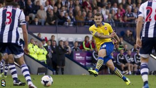 Jack Wilshere scores for Arsenal